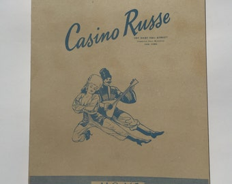 Vintage Casino Russe Ephemera Menu, Russian Dish Guide Book and Autographed Post card 1946