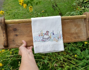 SALE - Rustic Handmade Primitive Antique Towel Bar and Hand Embroidered Towel from Rustysecrets