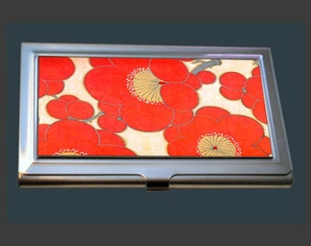 Business Card Case - Vintage Kimono Fabric - Red Poppies.