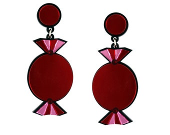 Red Quality Treat Sweet Earrings - Lasercut Acrylic