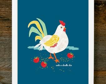 Baby Nursery Art - Rooster Art - Chicken Art, Chicken Illustration, Rooster Illustration, Farm Art, Nursery Art