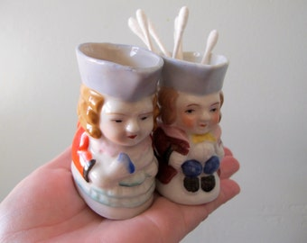 40s TOBY Couple Occupied Japan Porcelain Miniature 3 inch Pitchers / Unique Wedding Cake Topper or Unique Storage