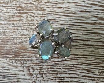 Vintage Silver Ring Stone Cluster Labradorite Ring