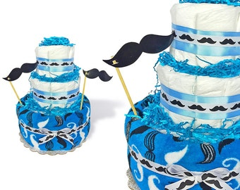 "Mustache diaper cake, mustache baby shower centerpiece, mustache baby gifts, ""lil man"", boy diaper cake, mustache cakes, diaper centetpiece"