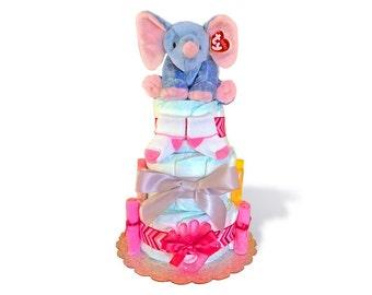 Elephant Diaper Cake. Baby Girl Diaper Cake. Stuffed Animal.Diaper Cakes For Girls. Chevron Diaper Cake. Baby Teether. diaper cakes for sale