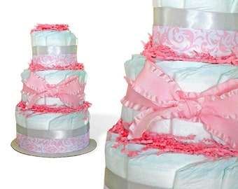 Pink diaper cake baby shower centerpiece, diaper cakes for sale
