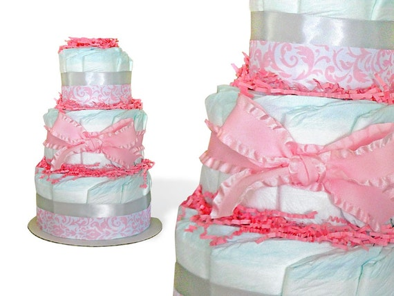 Baby Shower Cakes For Sale ~ Pink diaper cake baby shower centerpiece cakes for