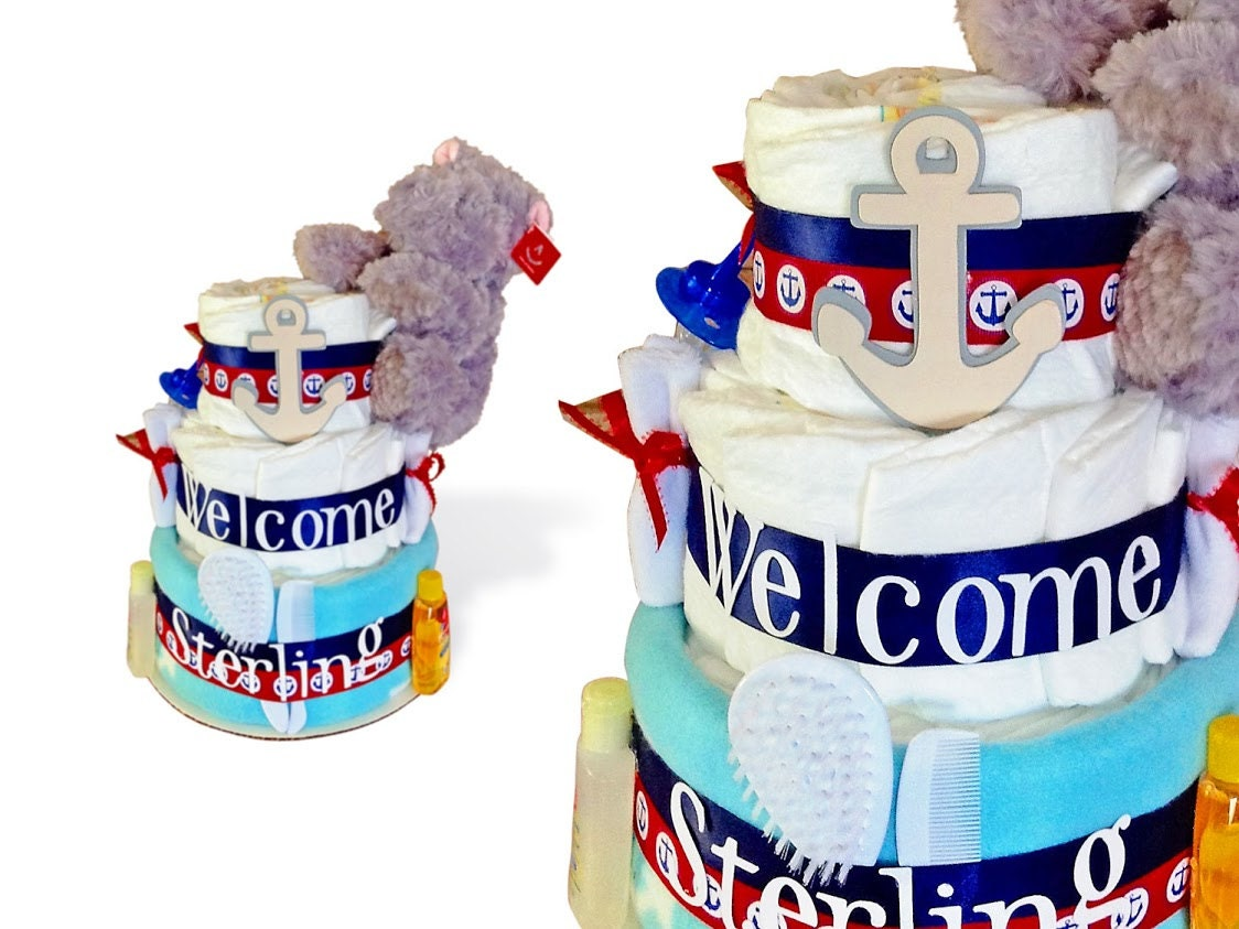Ahoy Its A Boy Baby Shower Decor, Nautical Diaper Cake, Nautical Baby  Shower Centerpieces, Sailor Diaper Cakes, Anchor Baby Shower