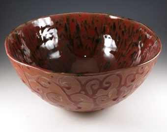 Punch Bowl - Large Ceramic Bowl - Decorative Bowl - Centerpiece - Red and Bronze - 428