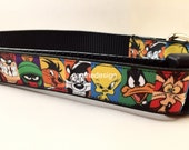 Dog Collar, Looney Tunes ,1 inch wide, adjustable, quick release, metal buckle, chain, martingale, hybrid, nylon