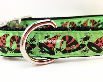 Halloween Dog Collar, Witch's Hat, 1 inch wide, adjustable, quick release, plastic buckle, metal buckle, martingale, chain, nylon