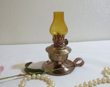 Oil Lamp Copper Colored Table Top Or Wall Hanging Minature
