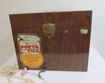Metal File Box with Key Wood Grain Look