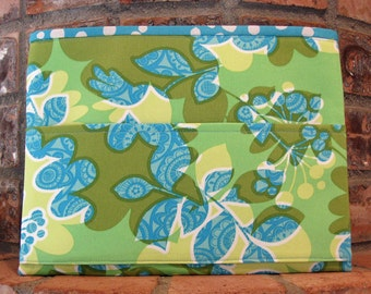 Aqua, Green and Yellow Tract and Magazine Holder, Organizer, Tablet Sleeve
