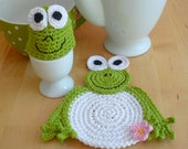 Crochet Frog  Set (coaster, egg cozy)