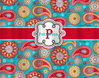Red And Turquoise Shower Curtain. Personalized Designer Gypsy Paisley Shower Curtain  Turquoise and Red color combo or plain shower Etsy