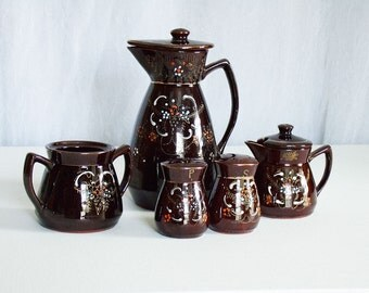 Vintage Japanese Tea Set, Brown painted serving set, hostess set, handpainted red clay pottery tea set