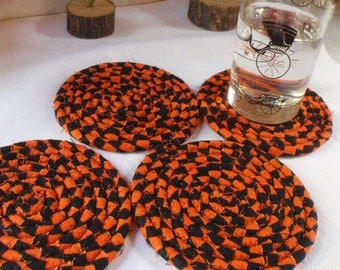 Coiled Orange and Black Coasters - Set of 4 - Handmade by Me, Halloween