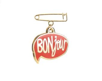 BONjour Enamel Pin - Red & Gold