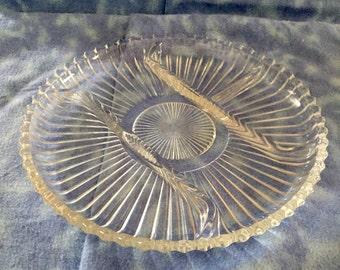Glass Relish Dish Serving Platter