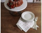 Red Dots Linen Napkins- Free Shipping to USA.