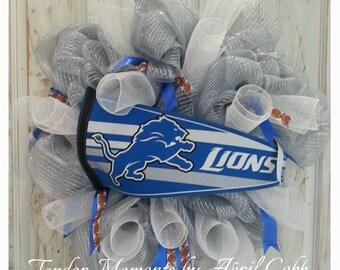 Detroit Lions Mesh Wreath, Detroit Lions Wreath, Football Wreath, Detroit Wreath, Sports Wreath, Detroit, Detroit Lions Pennant, Tailgate