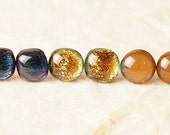 3 Pair Lot Handmade Dichroic Glass Earrings Studs Pairs ...FREE Shipping...