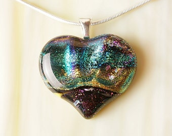 Handmade Dichroic Fused Glass Necklace ...HEART...