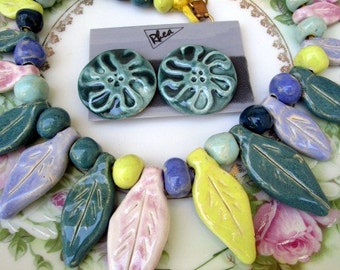 Vintage 80's Big Statement Necklace Earring Set Cermaic Leaves Pastels Chunky