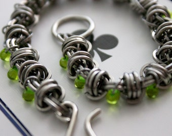 Lime Green Chainmaille Bracelet, Beaded Barrel Weave