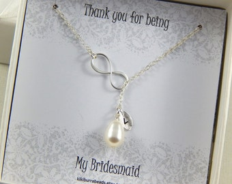 Bridesmaids Gift - Infinity Lariat Necklace, Personalized white tear drop Necklace, Bridal necklace, Wedding Jewelry