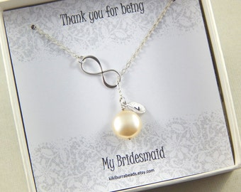 Bridesmaids Gift - Infinity Lariat Necklace, Personalized ivory coin pearl Necklace, Bridal necklace, Wedding Jewelry