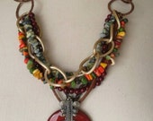 Afrocentric Boho Gypsy Inspired Multi-strand Necklace Handmade Fall