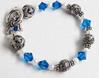 Blue and Silver Bracelet, Capri Blue and Silver Bracelet, Blue Crystal and White Pearl Bracelet