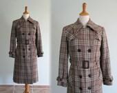 Vintage 1960s Coat - Gorgeous Austrian Plaid Wool Trench Style Coat - 60s Teller Coat S M
