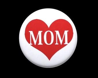 Mom Love Heart - Pinback Button Badge 1 inch