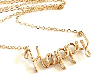 Gold Happy Necklace. 14k Gold Filled Wire Script Happy Necklace