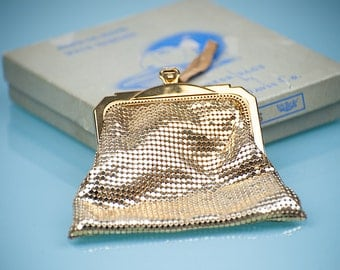 Vintage WHITING and DAVIS Gold Tone Mesh Evening Bag,  Art Deco,  MINT in Original Box