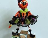 Halloween Pumpkin Folk Art Doll Sculpted Collectible Decoration