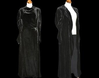 Original Vintage 1930s Black Silk Velvet Draped Dress Coat - Size Small - FREE SHIPPING WORLDWIDE