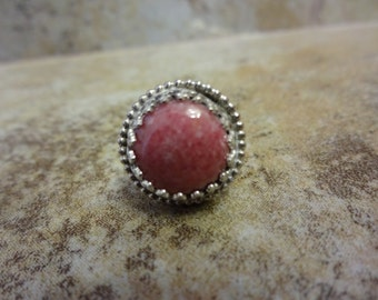 Sterling Silver Pink Rhodonite Tie Tac Hat Lapel Pin - BREAST CANCER AWARENESS