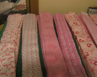"""All Breast Cancer Awareness Pink Ribbon Flannel  Jelly Roll  Precut 2.5"""" X 43"""" Cotton Fabric 20 Piece Roll"""