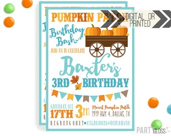 Pumpkin Patch Invitation | Digital or Printed | Pumpkin Party | Pumpkin Invite | Boy Pumpkin | Fall Birthday Invitation | Little Pumpkin Boy