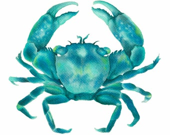Turquoise Green Crab Archival Art Print of an Original Watercolor Painting Hamptons Style Artwork