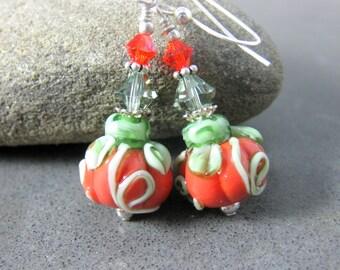 Pumpkin Earrings, Halloween Earrings, Autumn Fall Jewelry, Thanksgiving Earrings, Lampwork Earrings, Orange Earrings, Glass