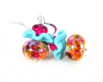 Pastel Ruffle Earrings, Pink Blue Orange Glass Earrings, Whimsical Earrings, Lampwork Earrings, Funky Earrings, Cottage Chic, Fun Earrings