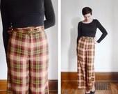 s a l e Hight Waist Pants / 1970s Plaid Flannel Flares - S/M