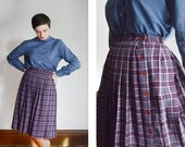 1970s Pleated Purple Plaid Skirt - S