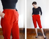 1950s Bobbi Brooks Red Corduroy Capri Pants - S/M