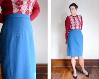 1950s Blue Hand Tailored Wool Skirt - M
